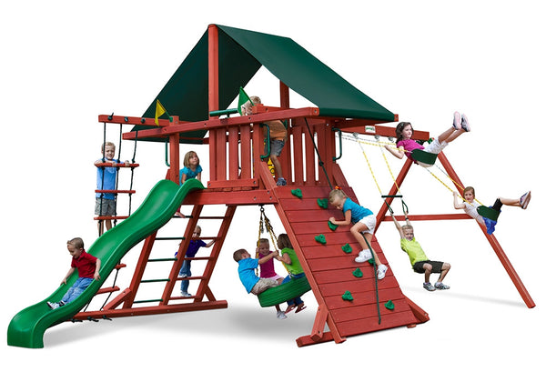 Gorilla Playsets Sun Climber I Swing Set w/ Sunbrella Canvas Forest Green Canopy (01-0024)
