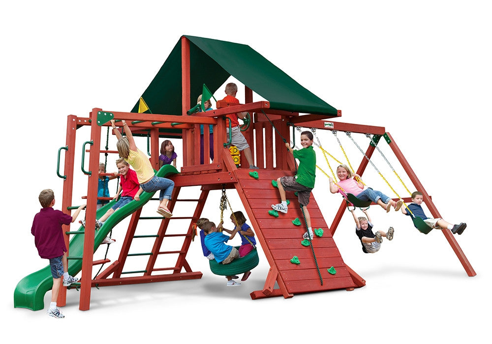 Gorilla Playsets Sun Climber II Swing Set w/ Sunbrella Canvas Forest Green Canopy (01-0025)
