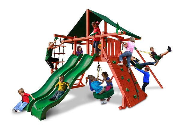 Gorilla Playsets Sun Climber Extreme Swing Set w/ Sunbrella Canvas Forest Green (01-0041-2)