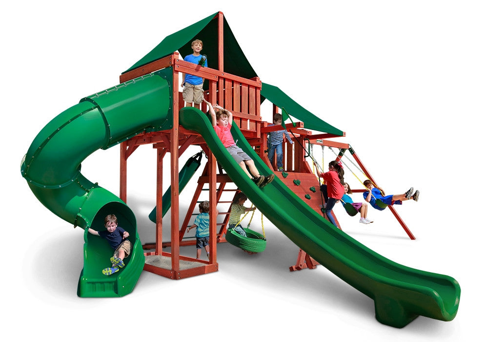 Gorilla Playsets Sun Climber Deluxe Swing Set w/ Sunbrella Canvas Forest Green Canopy (01-0042-2)