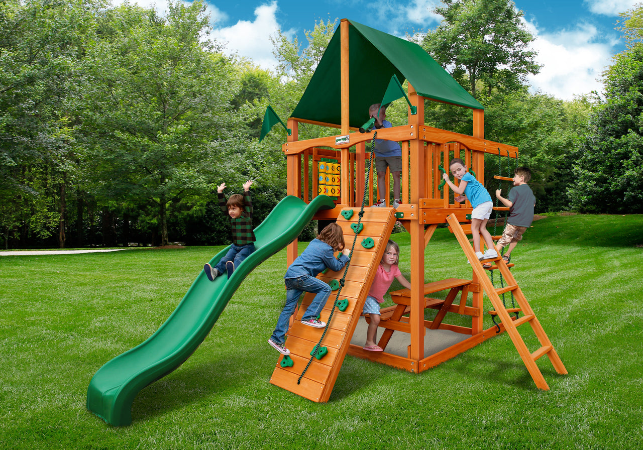 Gorilla Playsets Chateau Tower Swing Set w/ Amber Posts and Sunbrella Canvas Forest Green Canopy (01-0061-AP-2)