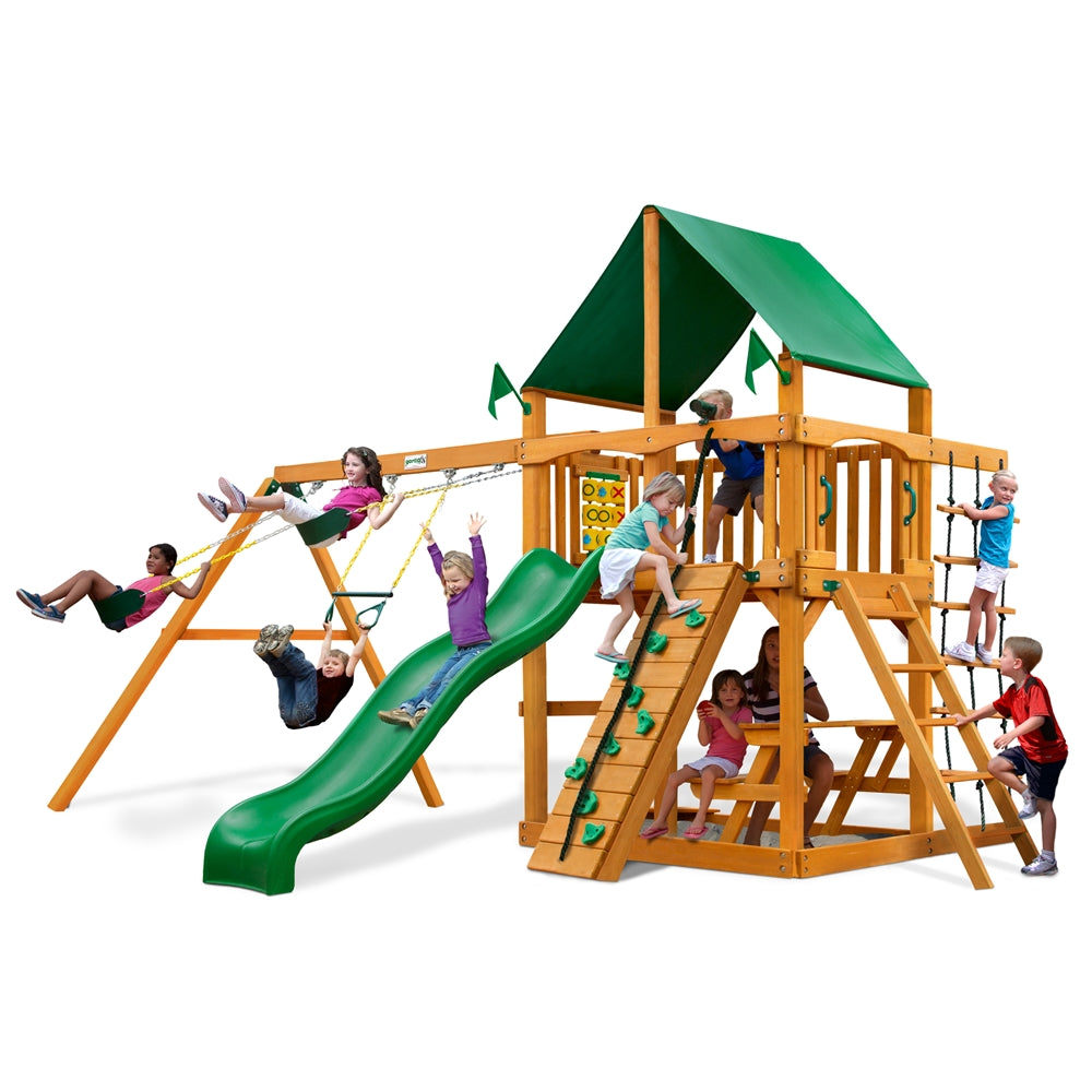 Gorilla Playsets Chateau Swing Set w/ Amber Posts and Deluxe Green Vinyl Canopy (01-0003-AP-1)