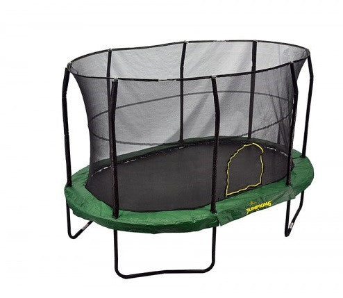 Jumpking Oval 9' X 14' Trampoline With Solid Green Pad Jk914Gr