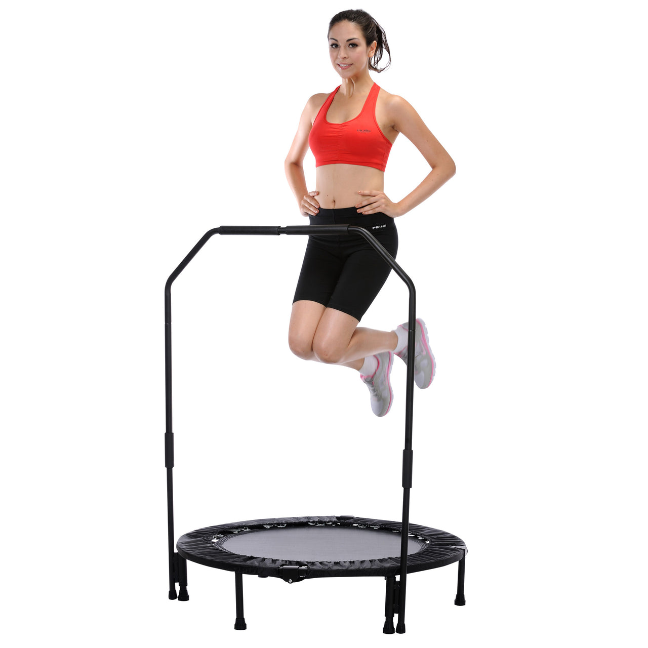 SUNNY HEALTH & FITNESS 40‰Û_ FOLDABLE TRAMPOLINE WITH BAR (NO. 023-B)