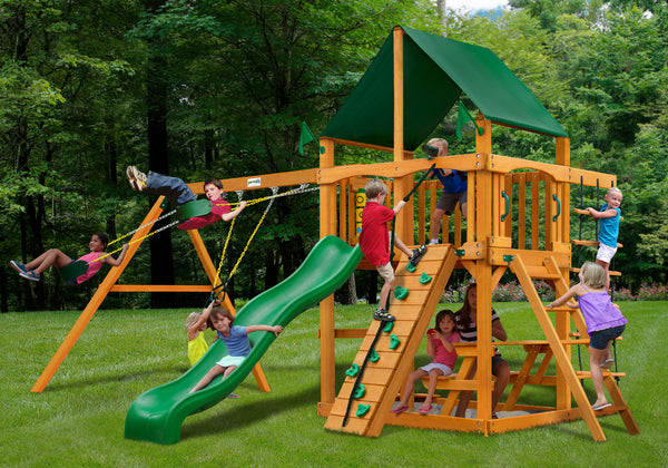 Gorilla Playsets Chateau Swing Set w/ Amber Posts and and Sunbrella Canvas Forest Green Canopy (01-0003-AP-2)