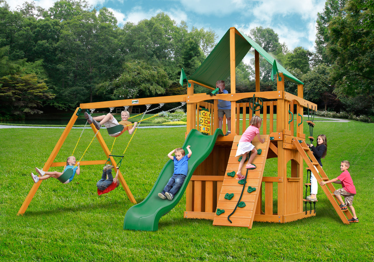 Gorilla Playsets Chateau Clubhouse Swing Set w/ Amber Posts and Deluxe Green Vinyl Canopy (01-0035-AP-1)