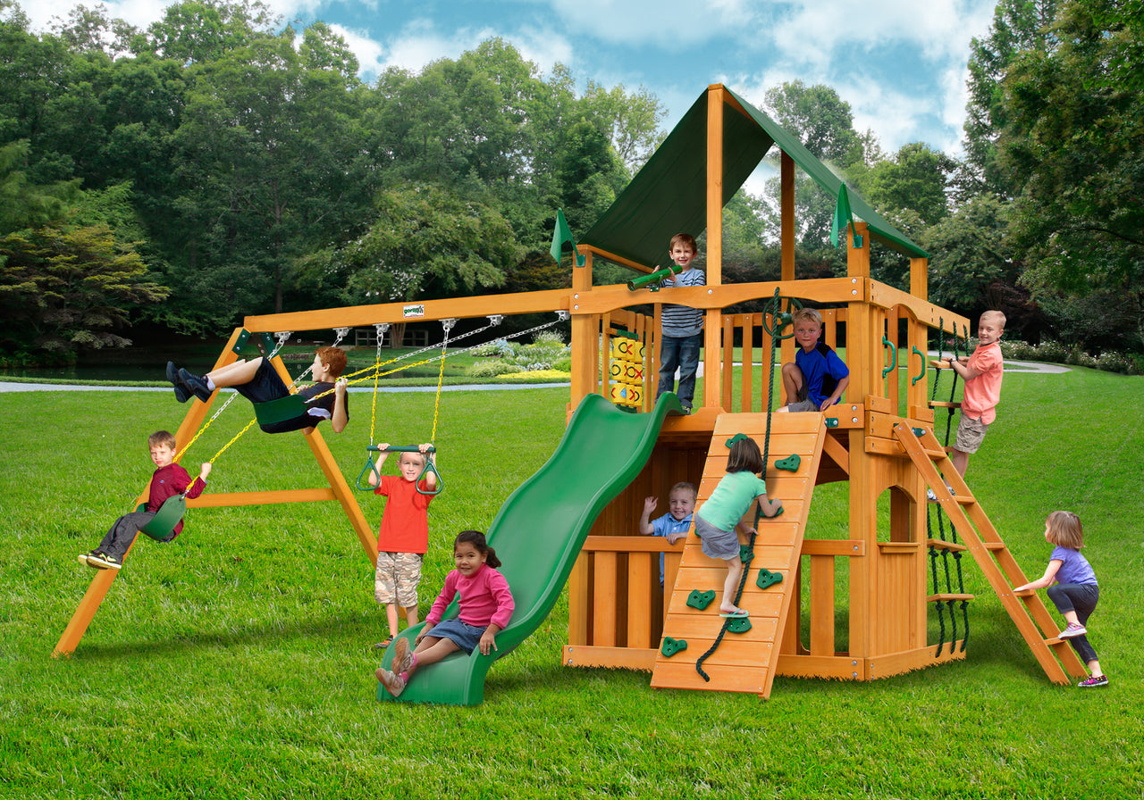 Gorilla Playsets Chateau Clubhouse Swing Set w/ Amber Posts and and Sunbrella Canvas Forest Green Canopy  01-0035-AP-2