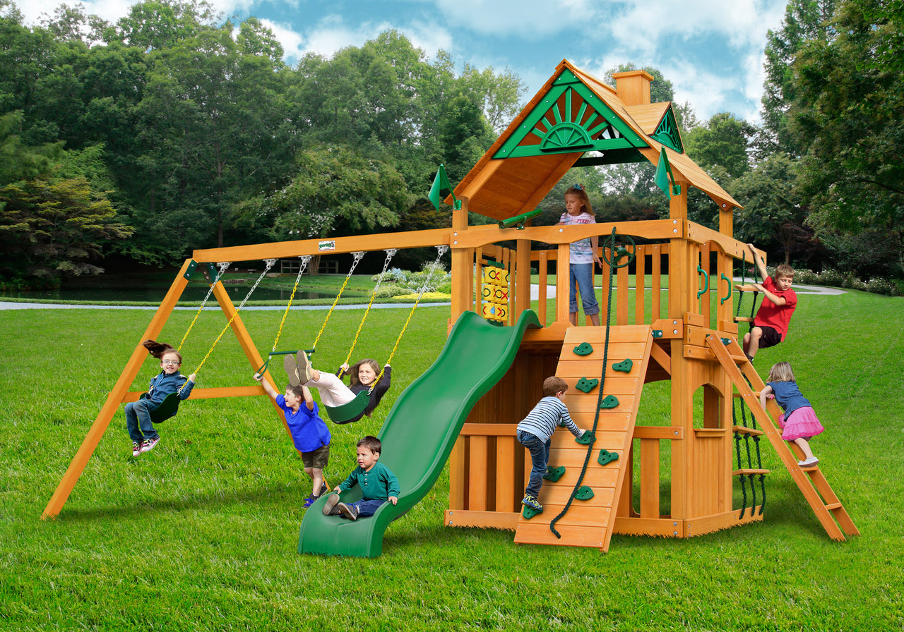 Gorilla Playsets Chateau Clubhouse Swing Set w/ Amber Posts (01-0035-AP)
