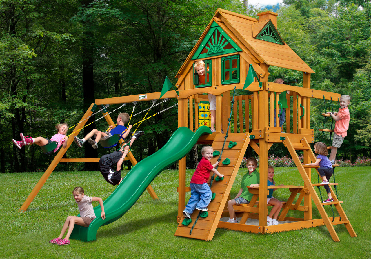 Gorilla Playsets Chateau Treehouse Swing Set w/ Amber Posts (01-0050-AP)