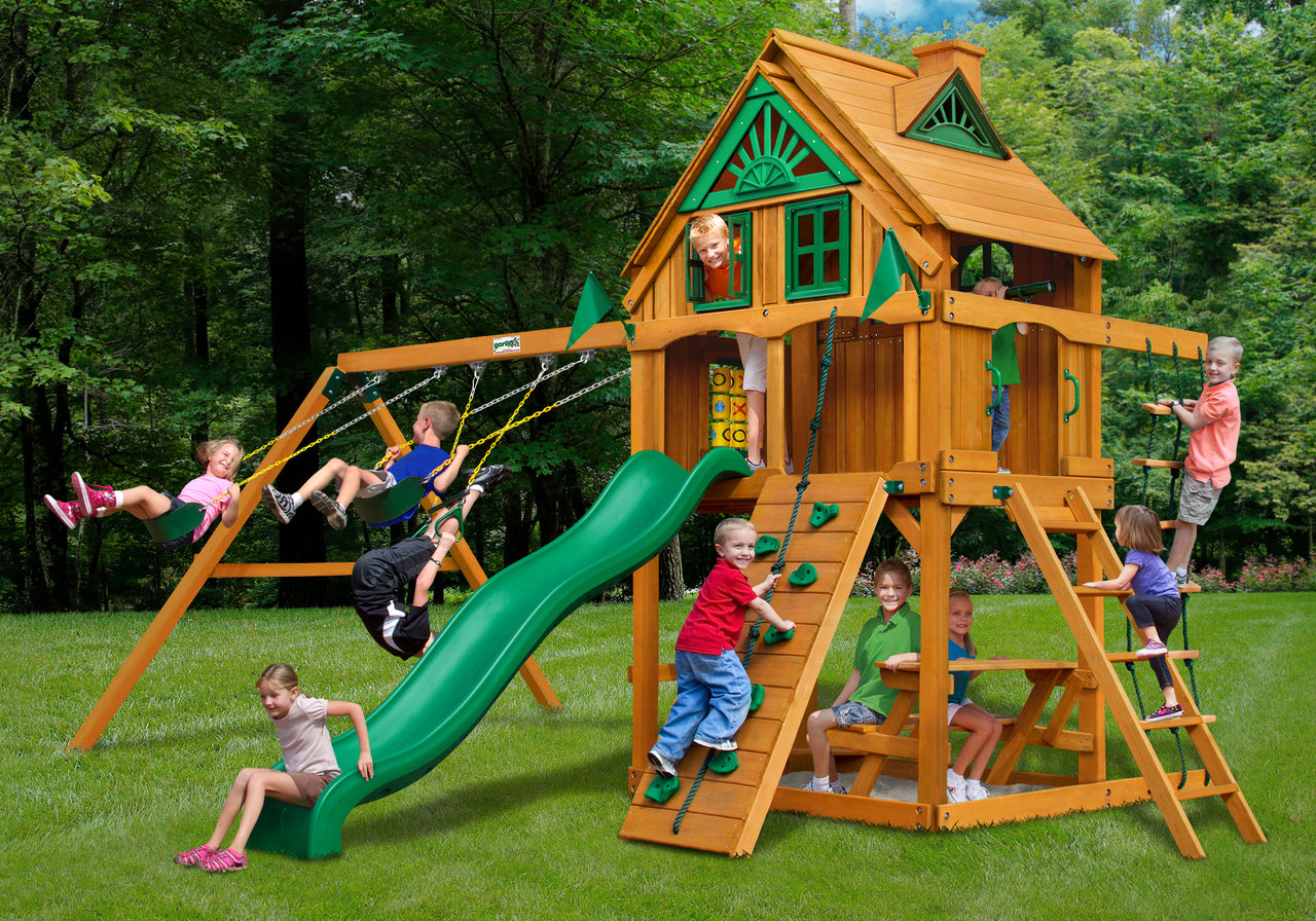 Gorilla Playsets Chateau Treehouse Swing Set w/ Fort Add-On & Amber Posts (01-0064-AP)