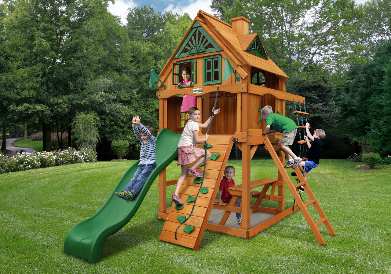 Gorilla Playsets Chateau Treehouse Tower Swing Set w/ Fort Add-On & Amber Posts (01-0063-AP)