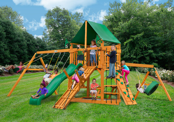 Gorilla PlaysetsFrontier Swing Set w/ Amber Posts and Deluxe Green Vinyl Canopy (01-0004-AP-1)