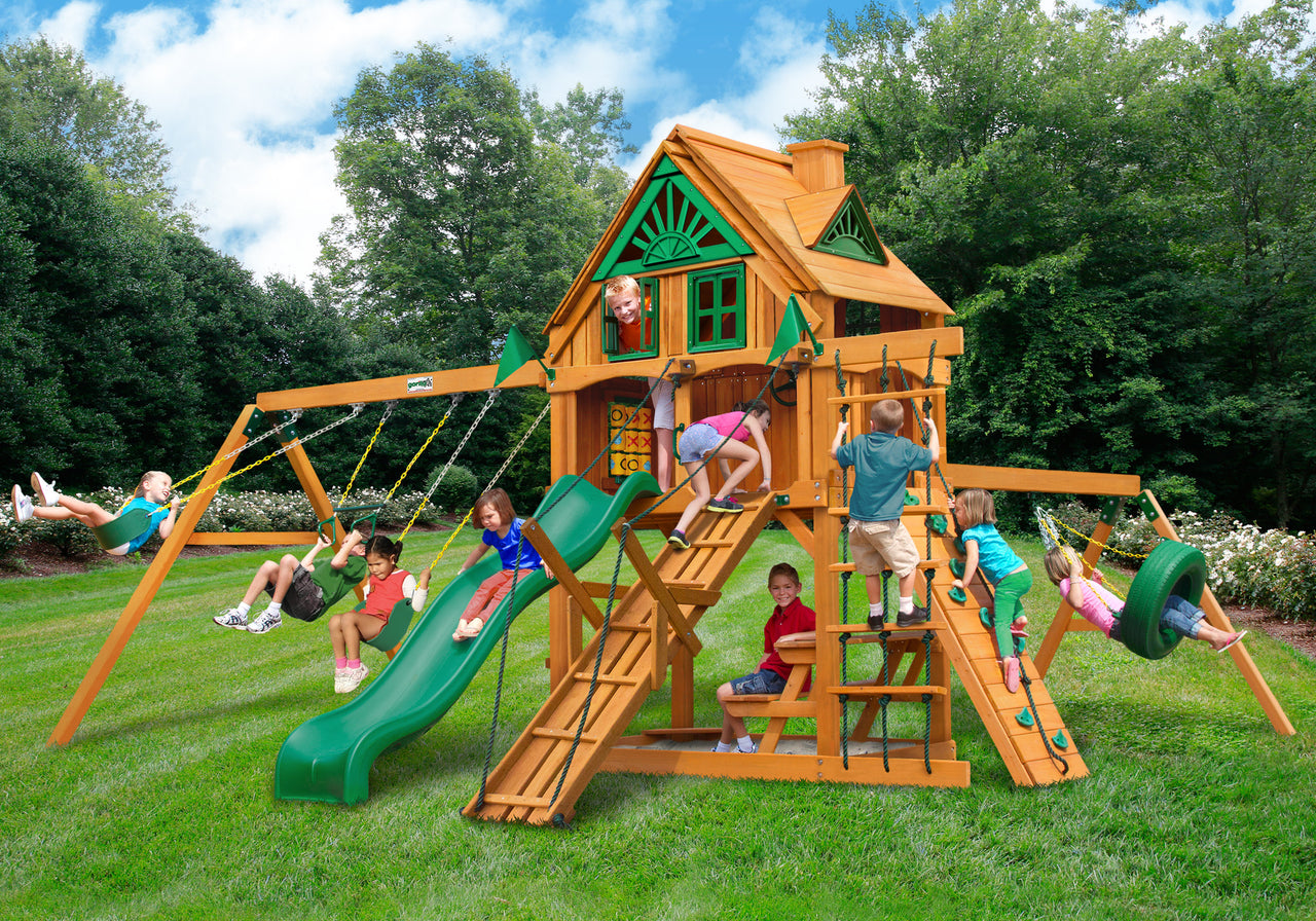 Gorilla Playsets Frontier Treehouse Swing Set w/ Fort Add-On & Amber Posts (01-0067-AP)