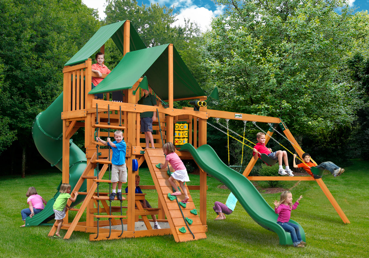 Gorilla Playsets Great Skye I Swing Set w/ Amber Posts and Deluxe Green Vinyl Canopy (01-0030-AP-1)