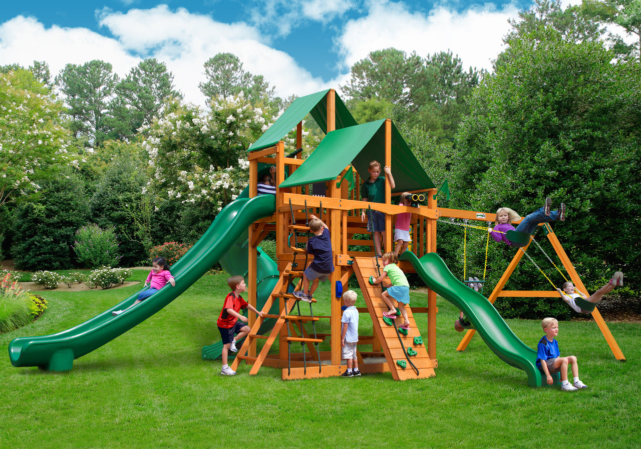 Gorilla Playsets Great Skye II Swing Set w/ Amber Posts and Deluxe Green Vinyl Canopy (01-0031-AP-1)
