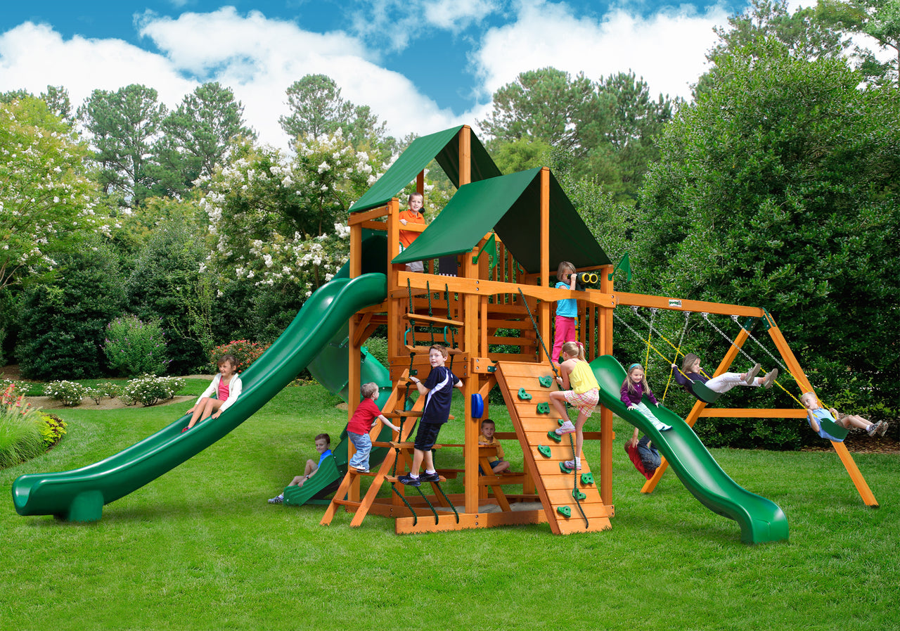 Gorilla Playsets Great Skye II Swing Set w/ Amber Posts and and Sunbrella Canvas Forest Green Canopy (01-0031-AP-2)