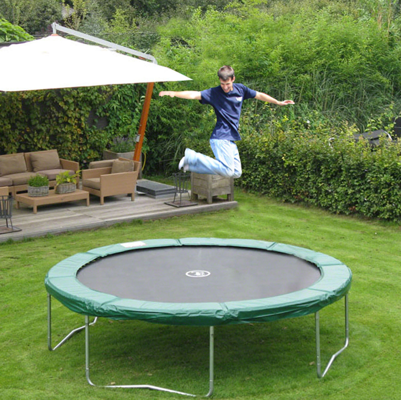 KidWise JumpFree 15 Foot Trampoline - Green (No Safety Enclosure) (KW-JFTR15E-G)