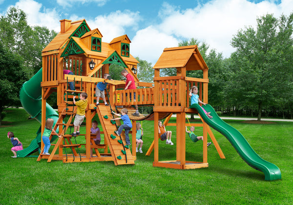 Gorilla Playsets Malibu Treasure Trove I Swing Set w/ Amber Posts