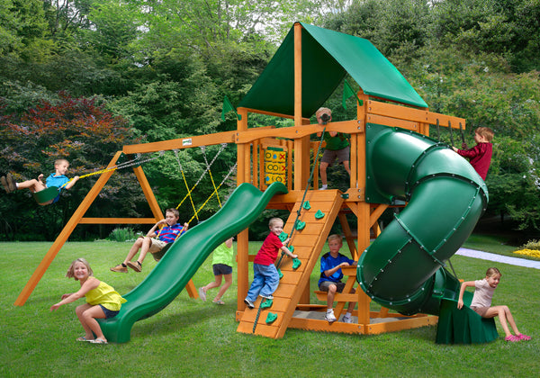 Gorilla Playsets Mountaineer Swing Set w/ Amber Posts and Deluxe Green Vinyl Canopy (01-0005-AP-1)