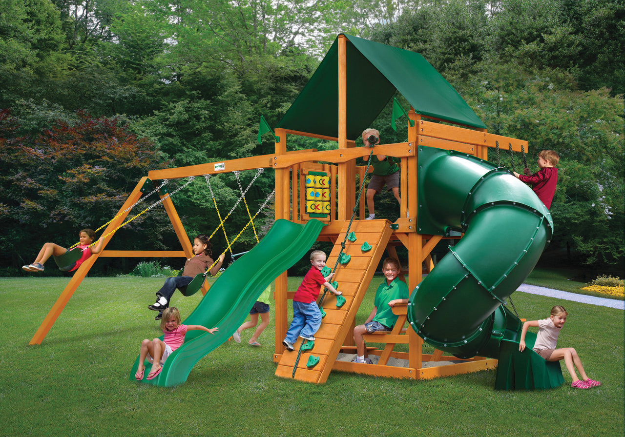 Gorilla Playsets Mountaineer Swing Set w/ Amber Posts and and Sunbrella Canvas Forest Green Canopy (01-0005-AP-2)