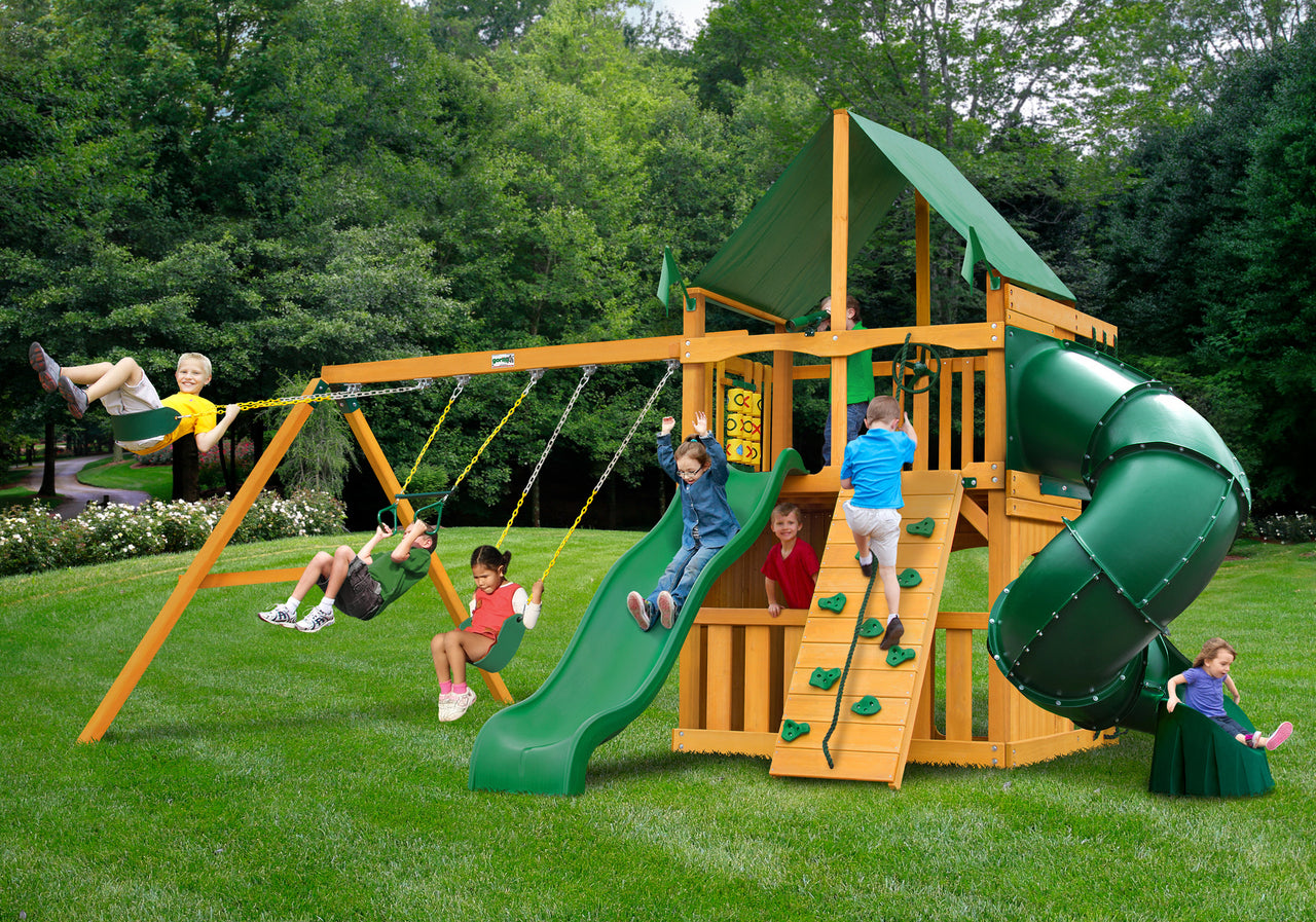 Gorilla Playsets Mountaineer Clubhouse Swing Set w/ Amber Posts and Deluxe Green Vinyl Canopy(01-0033-AP-1)