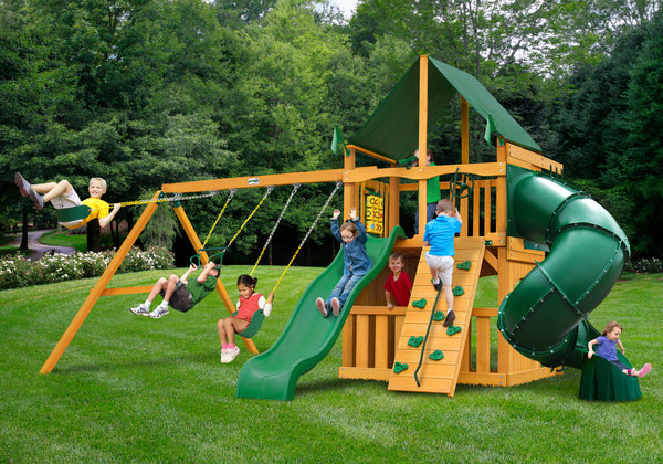 Gorilla Playsets Mountaineer Clubhouse Swing Set w/ Amber Posts and and Sunbrella Canvas Forest Green Canopy (01-0033-AP-2)