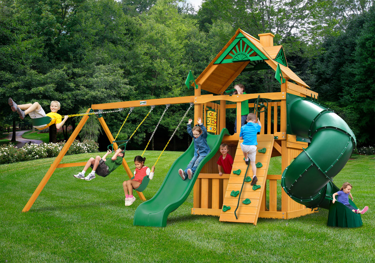Gorilla Playsets Mountaineer Clubhouse Swing Set w/ Amber Posts (01-0033-AP)