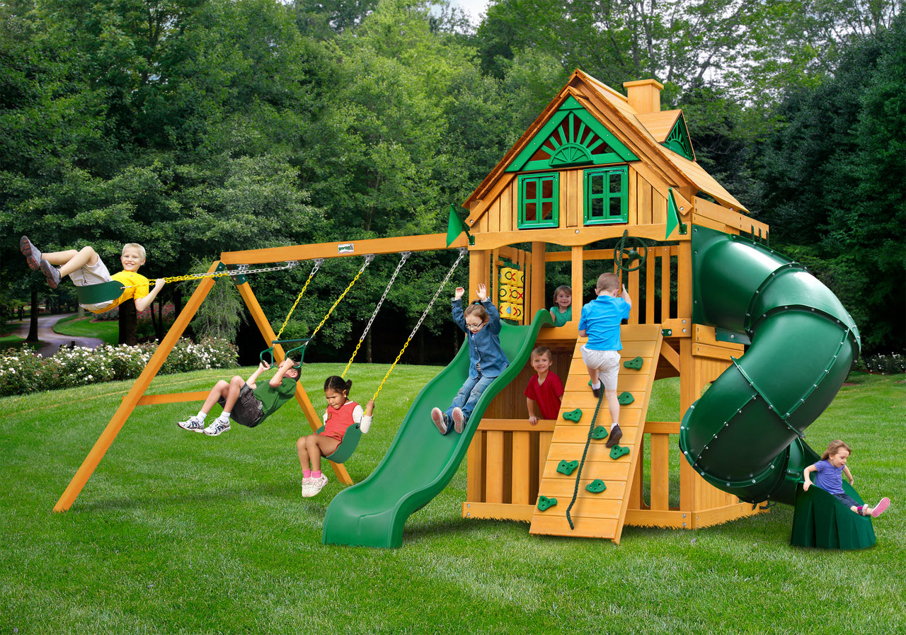 Gorilla Playsets Mountaineer Clubhouse Treehouse Swing Set w/ Amber Posts (01-0054-AP)