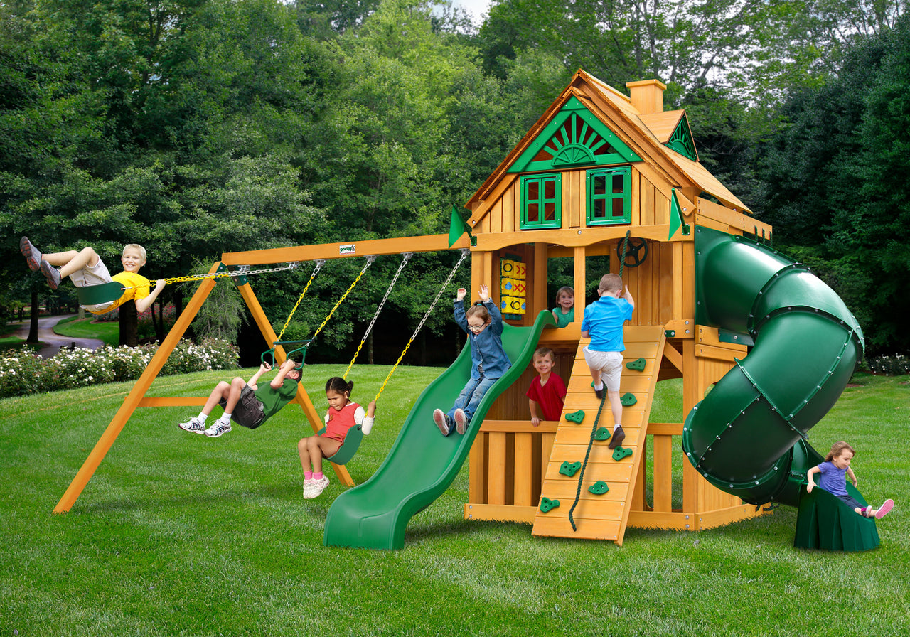 Gorilla Playsets Mountaineer Clubhouse Treehouse Swing Set w/ Fort Add-On & Amber Posts (01-0069-AP)