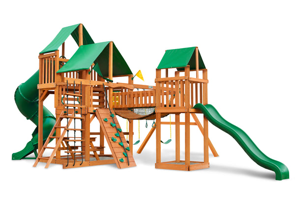 Gorilla Playsets Treasure Trove Swing Set w/ Amber Posts and Deluxe Green Vinyl Canopy (01-1021-AP-1)