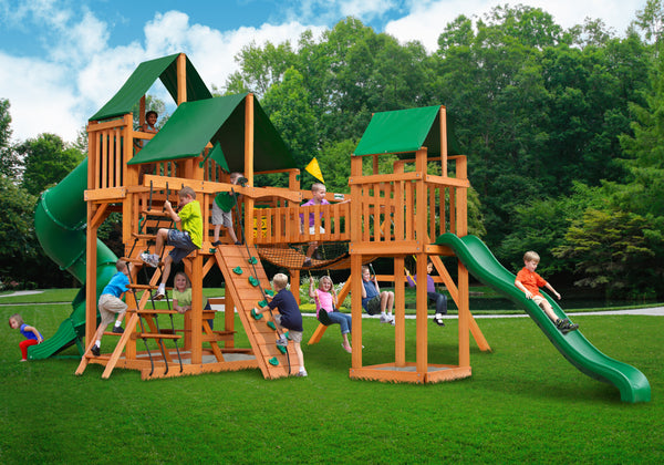Gorilla Playsets Treasure Trove Swing Set w/ Amber Posts and and Sunbrella Canvas Forest Green Canopy (01-1021-AP-2)