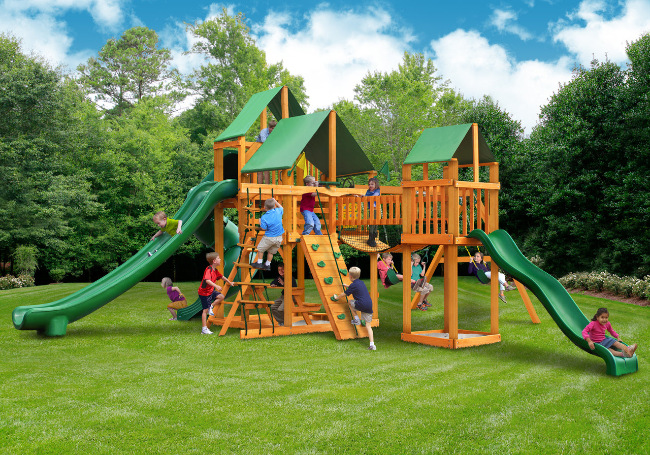 Gorilla Playsets Treasure Trove II Swing Set w/ Amber Posts and Deluxe Green Vinyl Canopy (01-1034-AP-1)