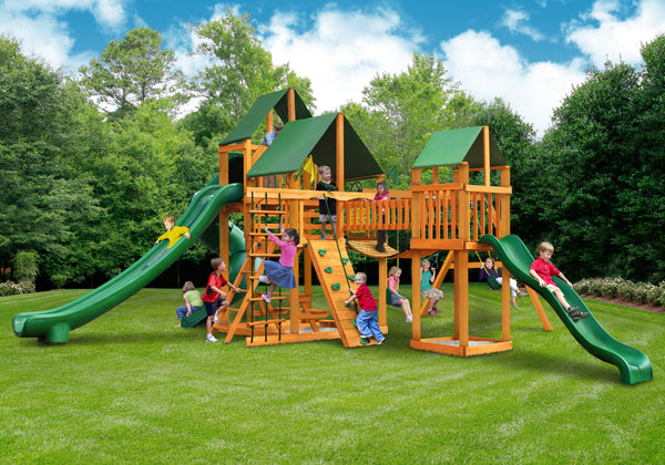Gorilla Playsets Treasure Trove II Swing Set w/ Amber Posts and and Sunbrella Canvas Forest Green Canopy (01-1034-AP-2)