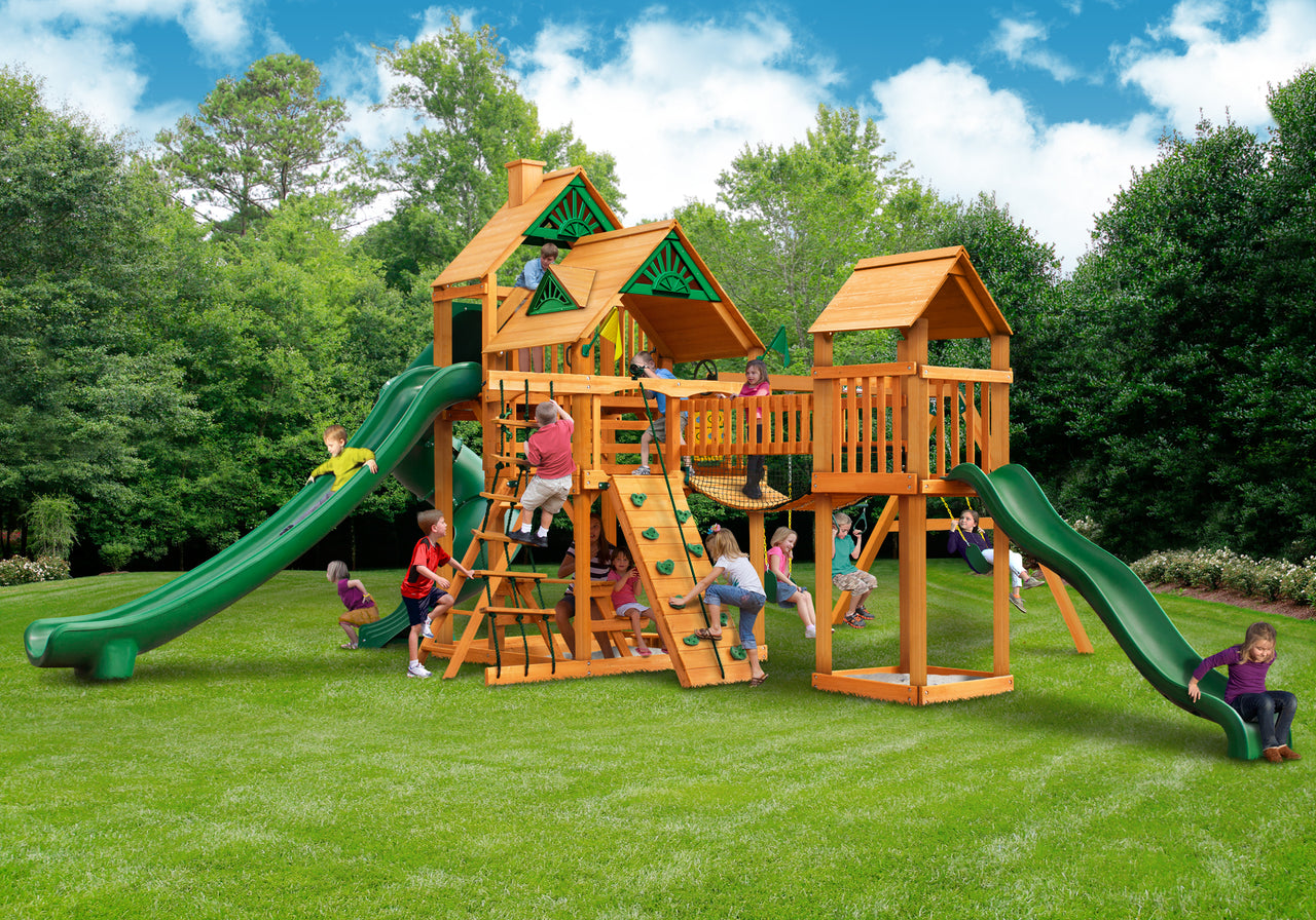 Gorilla Playsets Treasure Trove II Swing Set w/ Amber Posts (01-1034-AP)