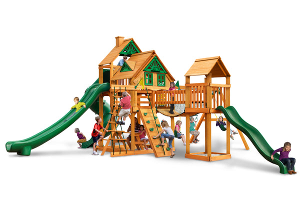 Gorilla Playsets Treasure Trove II Treehouse Swing Set w/ Amber Posts (01-1038-AP)