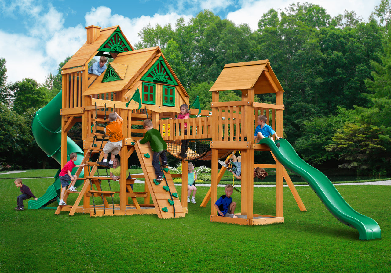 Gorilla Playsets Treasure Trove Treehouse Swing Set w/ Amber Posts (01-1037-AP)