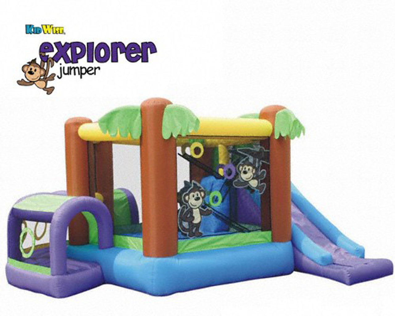 KidWise Monkey Explorer Jumper - Inflatable Bounce House (KW-EXP-04C-R)