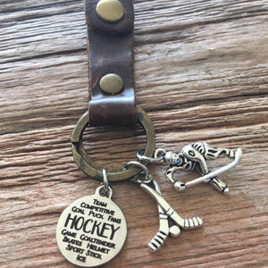 Hockey Leather Keychain