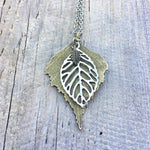 Leaf Pendant Necklace Bronze