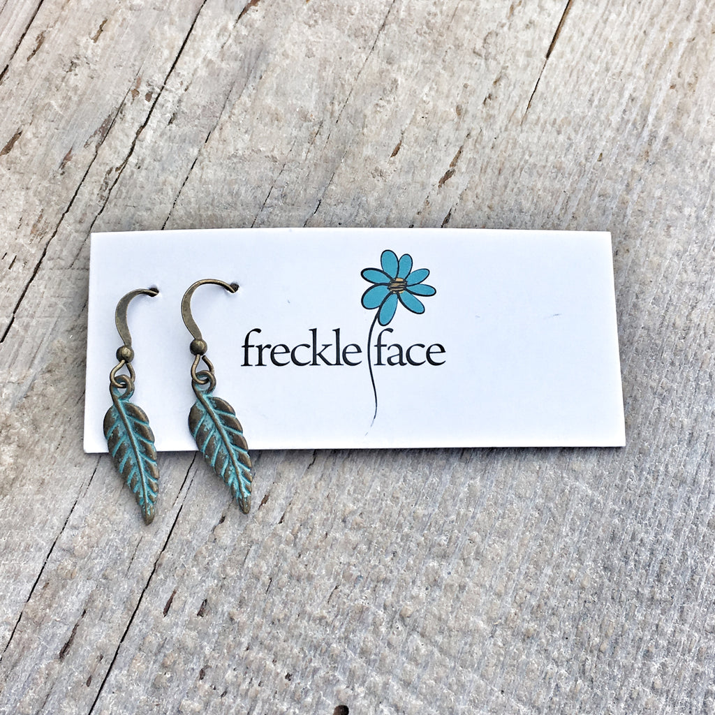 Patina Feather Earrings Small