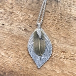 Leaf Pendant Necklace Silver