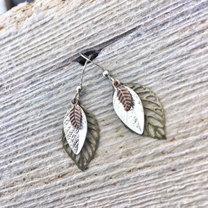 Layered Leaf Earrings
