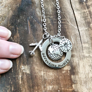 Adventure Awaits Travel Charm Necklace - 3 Charm