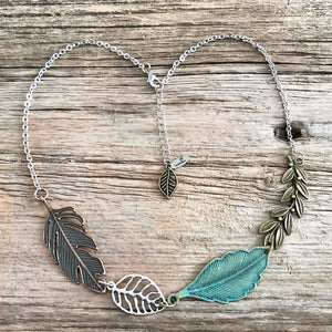 Patina Leaf Bib Necklace