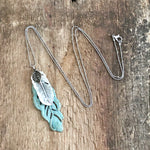Triple Feather Patina Pendant Necklace
