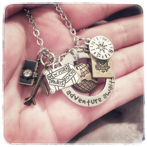 Adventure Awaits Travel Charm Necklace - 6 Charm mixed metals