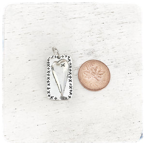 Heart in Rectangle with etchings - Charm