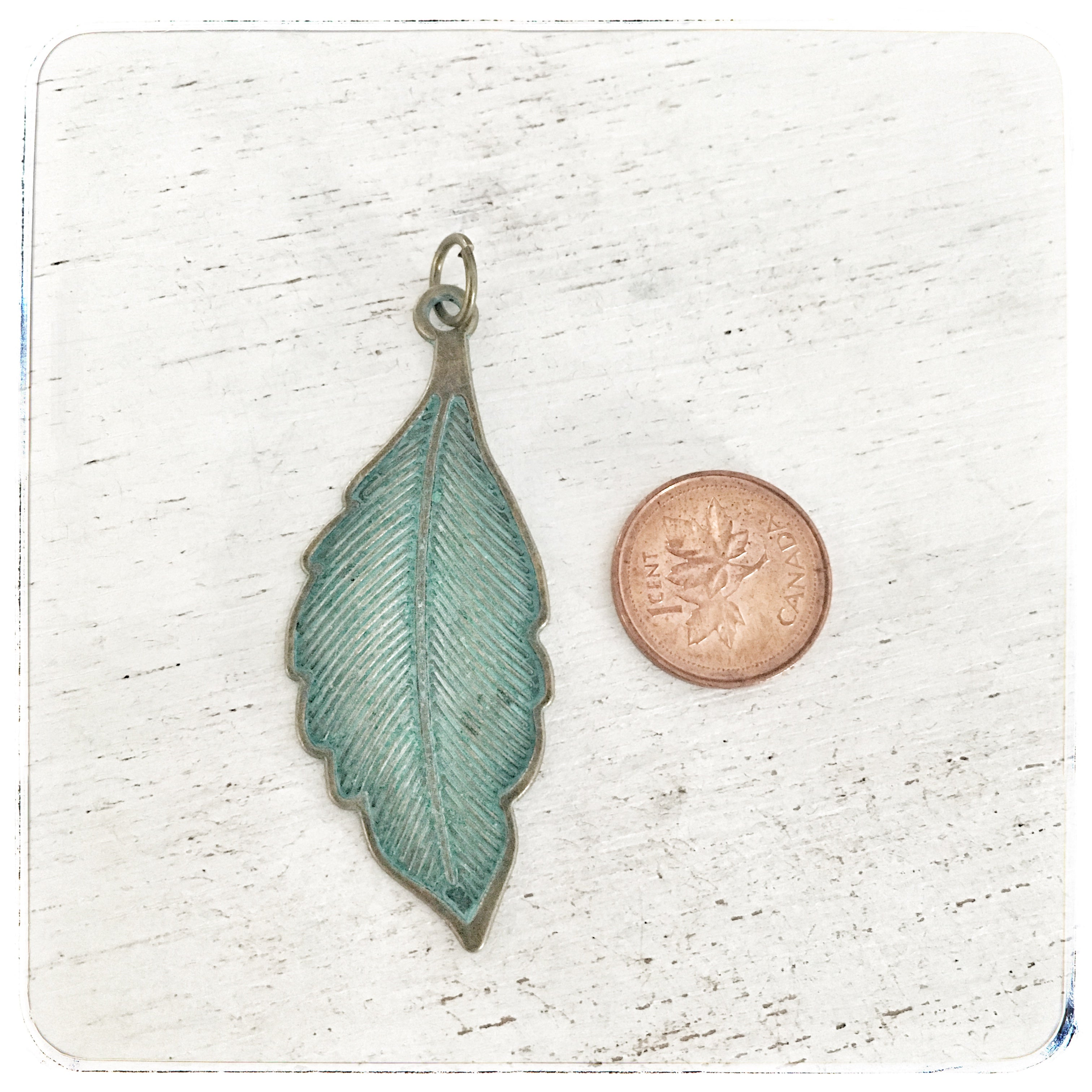 Large Patina Feather - Charm