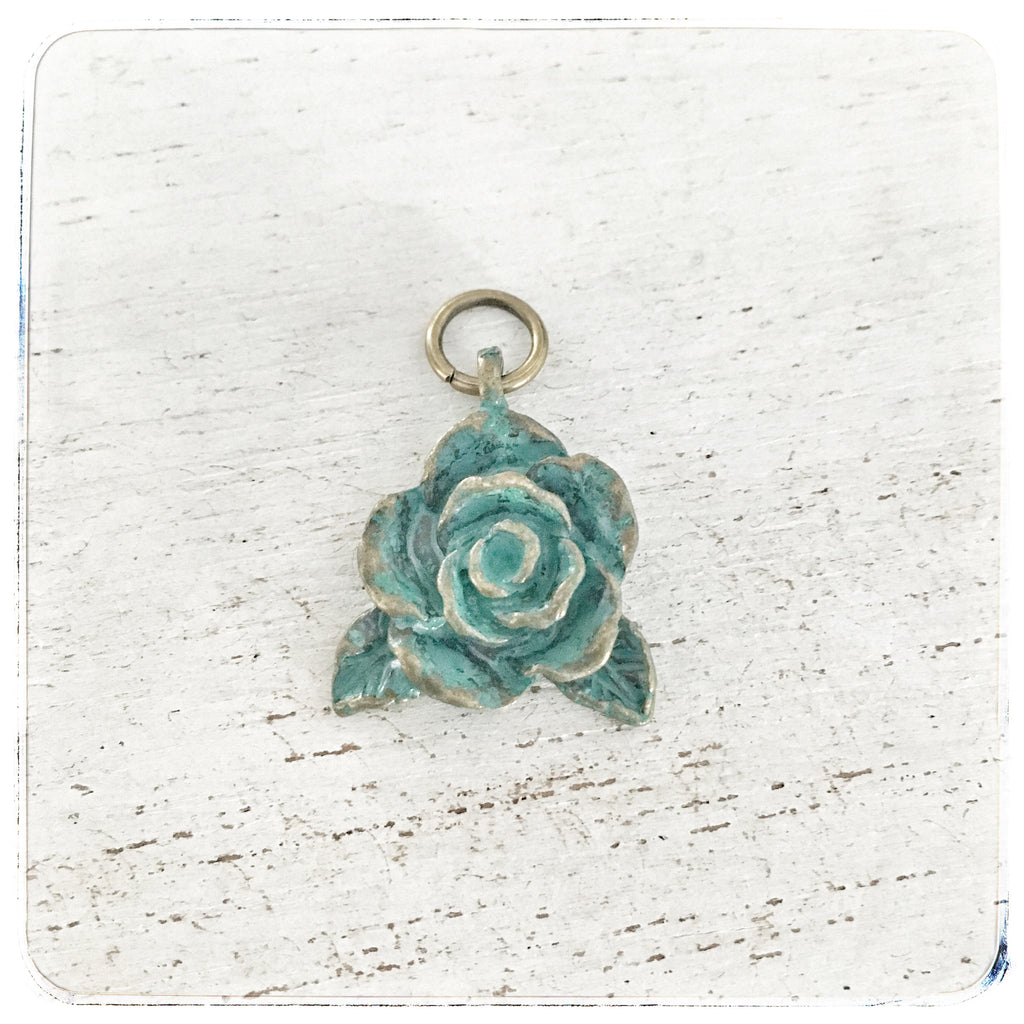 Small Patina Flower - Charm
