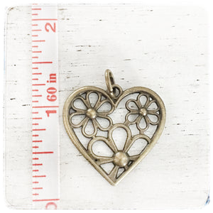 Small Heart with Flowers - Charm